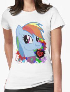 Rainbow Dash Splatter Heart Womens Fitted T-Shirt