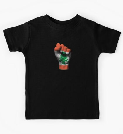 Flag of Lebanon on a Raised Clenched Fist  Kids Tee