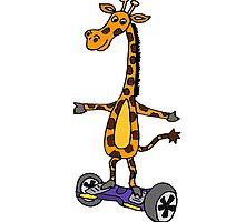 Funny Giraffe on Motorized Segway Skateboard by naturesfancy