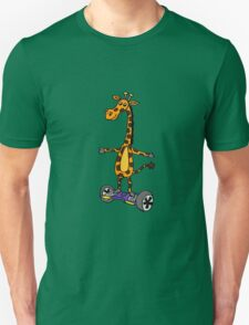 Funny Giraffe on Motorized Segway Skateboard Unisex T-Shirt