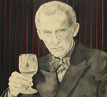 Peter Cushing in mixed media by Astrid de Cock