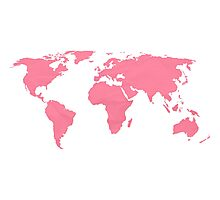 Simple Pink World Map Photographic Print