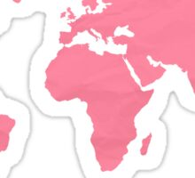 Simple Pink World Map Sticker