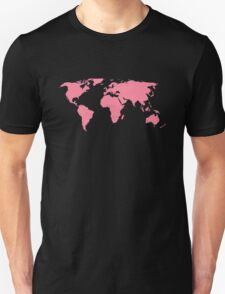 Simple Pink World Map T-Shirt