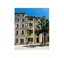 tall houses in Vence Art Print