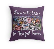 Teapot Town Throw Pillow