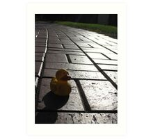Yellow Rubber Duck On A Red Brick Road Art Print