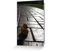 Yellow Rubber Duck On A Red Brick Road Greeting Card