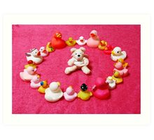 Angel Bear in Duck Blessing Circle Art Print
