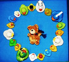 Benny Bear in Duck Blessing Circle, from above by Sammy Nuttall