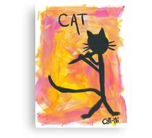 Kitty silhouette playing flute Canvas Print
