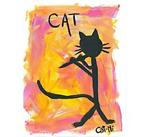 Kitty silhouette playing flute Photographic Print