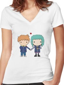 Scott Pilgrim - Scott and Ramona Women's Fitted V-Neck T-Shirt