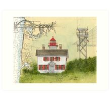 Yaquina Bay Lighthouse OR Nautical Map Cathy Peek Art Print