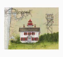 Yaquina Bay Lighthouse OR Nautical Map Cathy Peek Kids Tee