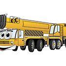 Yellow Crane Cartoon by Graphxpro