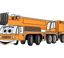 Orange Crane Cartoon by Graphxpro
