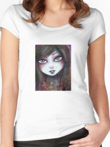 Big Eyed Girl Women's Fitted Scoop T-Shirt