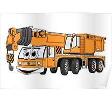 Short Orange Cartoon Crane Poster