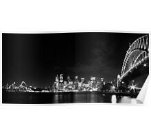 Sydney Harbour Bridge and Opera House in Black and White Poster