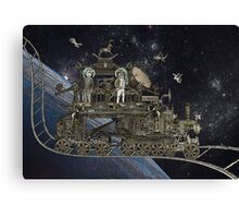 Space Cat Train Canvas Print