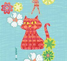 Red Cat and Groovy Girl by contourcreative