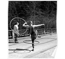 Jumping Through Hoops (Black and White) Poster
