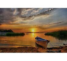 Golden sunset over lake Photographic Print