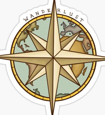 Wanderlust Compass & Map Sticker