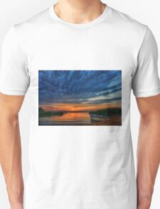 Boat, sunset and dramatic sky Unisex T-Shirt