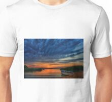 Boat, sunset and dramatic sky Unisex T-Shirt