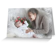 Grandma with a newborn grandson and flowers Greeting Card