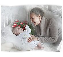 Grandma with a newborn grandson and flowers Poster
