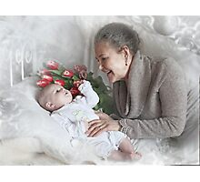 Grandma with a newborn grandson and flowers Photographic Print