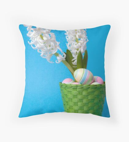 Easter composition  with white hyacinth and painted eggs Throw Pillow