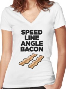 Speed Line Angle Bacon Women's Fitted V-Neck T-Shirt