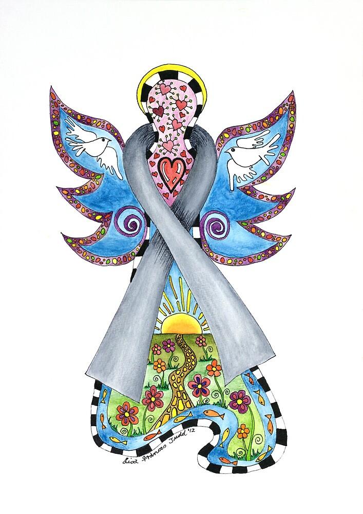 Brain Cancer Ribbon Angel ~ Peace, Love, Faith and Hope by Lisa Frances Judd~QuirkyHappyArt