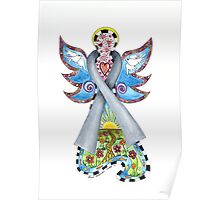 Brain Cancer Ribbon Angel ~ Peace, Love, Faith and Hope Poster