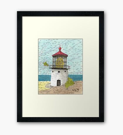 Makapuu Lighthouse HI Nautical Chart Cathy Peek Framed Print