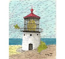 Makapuu Lighthouse HI Nautical Chart Cathy Peek Photographic Print