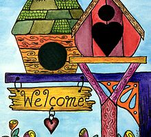 Birds are Welcome by Lisa Frances Judd ~ QuirkyHappyArt