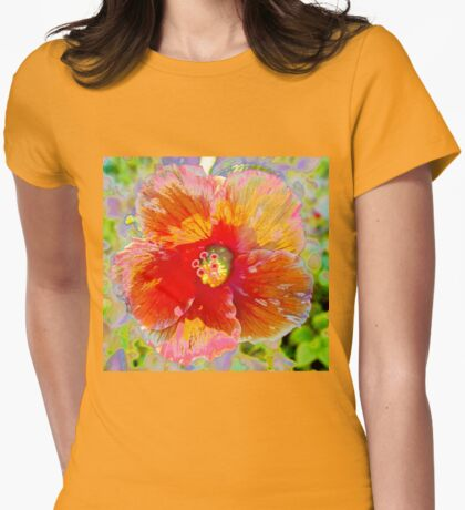 Rosy peach hibiscus Womens Fitted T-Shirt