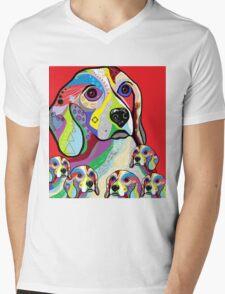 Beagle and Babies Mens V-Neck T-Shirt