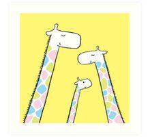 Giraffe family Art Print