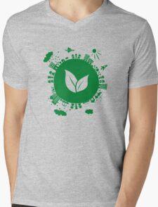 Grow Greens on Earth Mens V-Neck T-Shirt