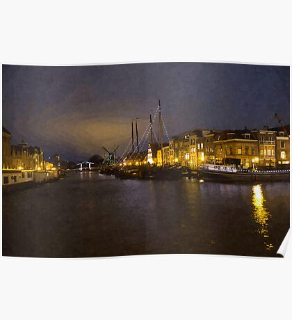 Canal by night in Leiden, The Netherlands Poster
