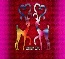 Deers In Love - Pink by Vidka Art