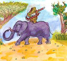Turtle Keytaring on an Elephant by Stuart F Taylor