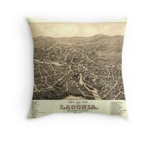 Panoramic Maps Bird's eye view of Laconia Belknap County NH 1883 Throw Pillow