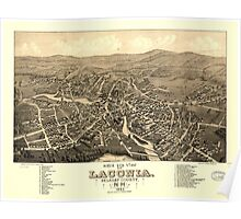 Panoramic Maps Bird's eye view of Laconia Belknap County NH 1883 Poster